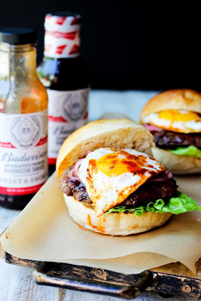 Smoky BBQ Burgers with Budweiser sauces