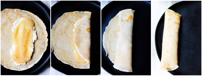 Folding apple sauce honey ricotta crepes