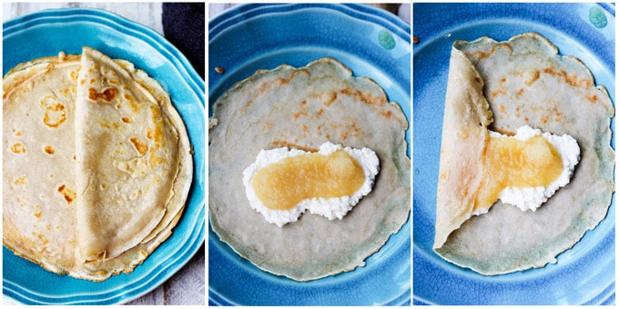 Folding apple sauce crepes burrito style