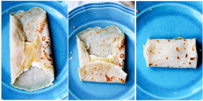 Folding crepes burrito style
