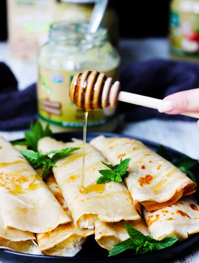Apple Sauce Crepes with Honey Ricotta