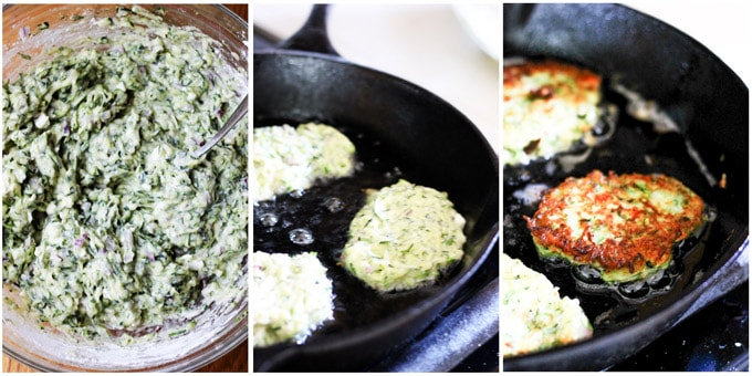 Zucchini fritters making process shots