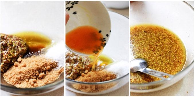 Process shots of making glaze for mustard chicken
