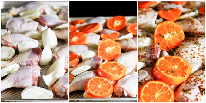 Process shots of making mustard chicken with clementines