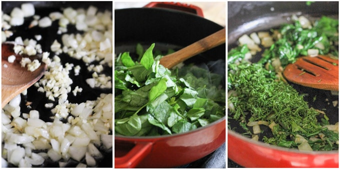 Preparing spinach feta layer for vegetarian moussaka