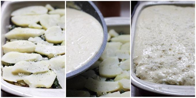 Assembling vegetarian moussaka in casserole dish