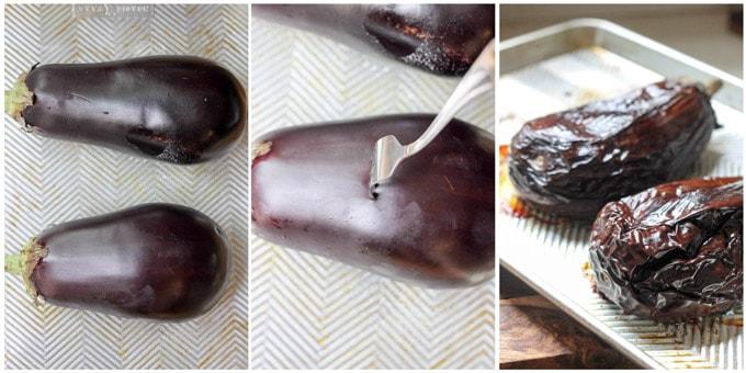 Step by step process of making melizanosalata