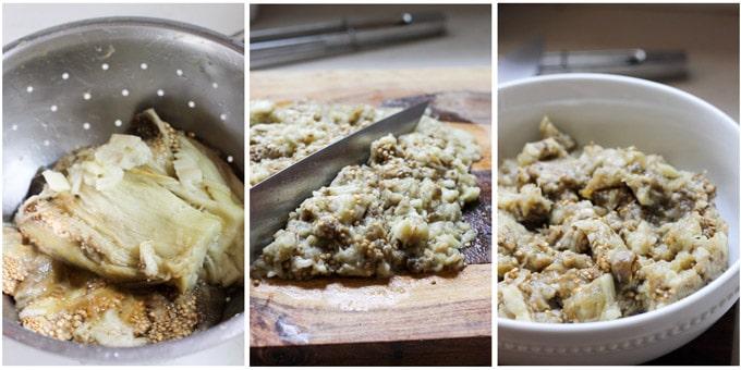 Step by step process of making Greek eggplant dip