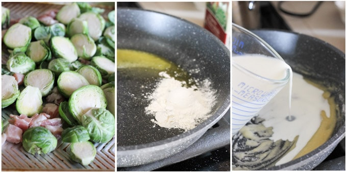 Process shots of making cheesy Brussels Sprouts