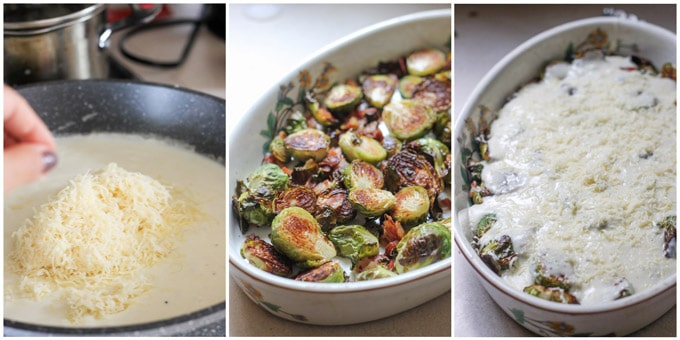 Process shots if making brussels sprouts with cheese sauce