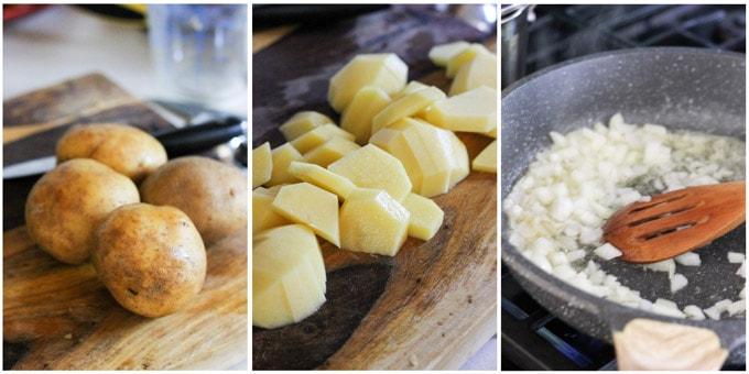 Process photos of making squash gratin