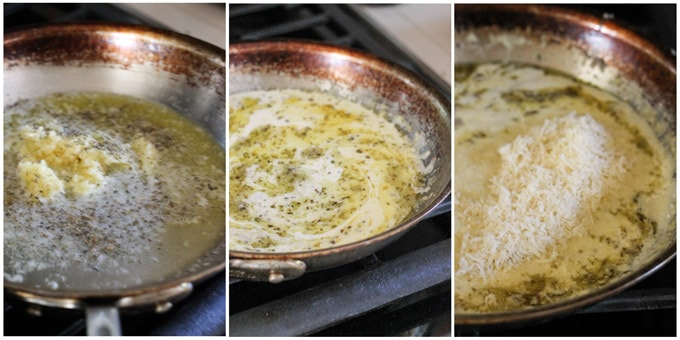Steps to make sauce for baked wings with garlic and parmesan