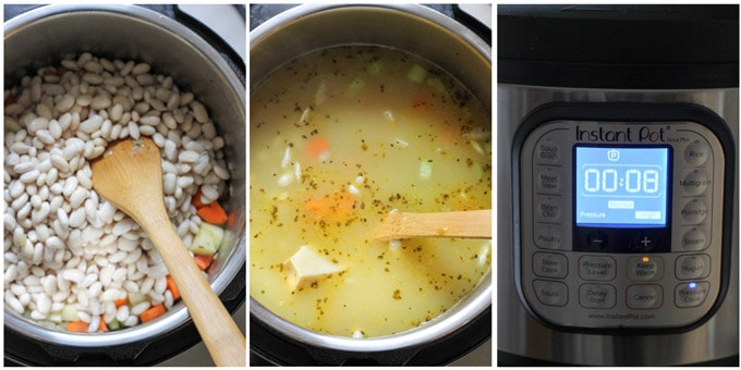 Process shots of making bean soup in Instant Pot