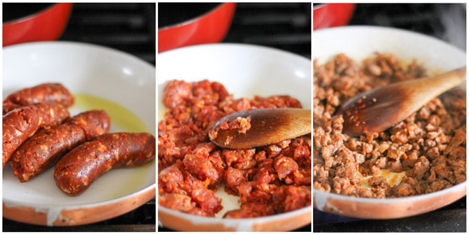 Steps to make sausage for pasta alla vodka