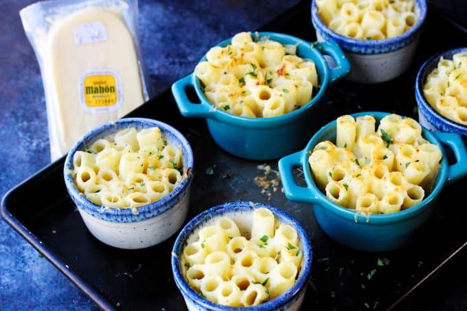 Baked pasta Alfredo style in ramekins