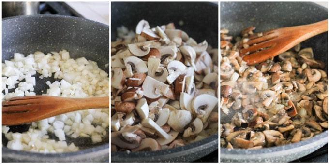 Process shots of making mushroom filling for pierogi