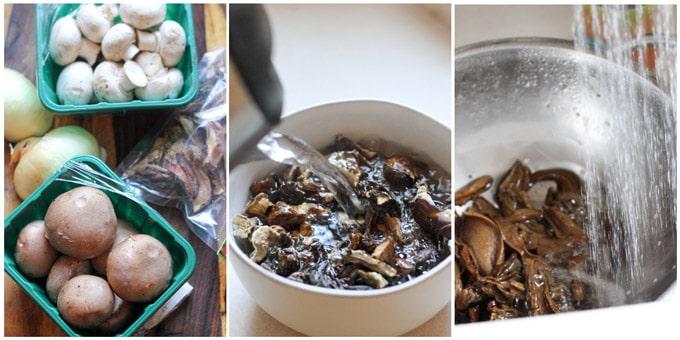 Process shots of making mushroom filling for uszka