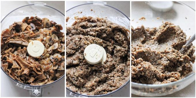 Process shots of making mushroom filling for Polish uszka