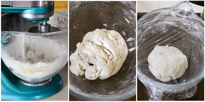Process shots of making pierogi dough