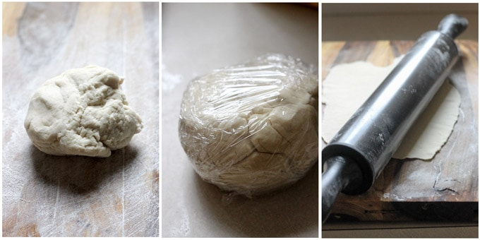 Process shots of making dough for pierogi