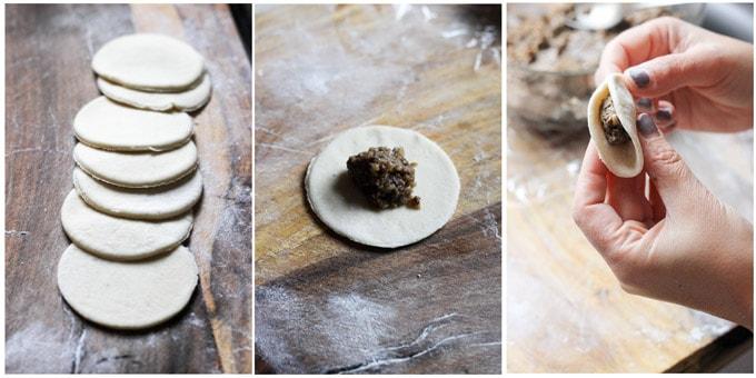 Process shots of making mushroom pierogi uszka