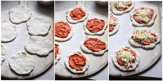 Process shots of making pizzette with garlic shrimp