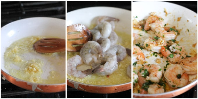 Process shots of making garlic shrimp for pizzette