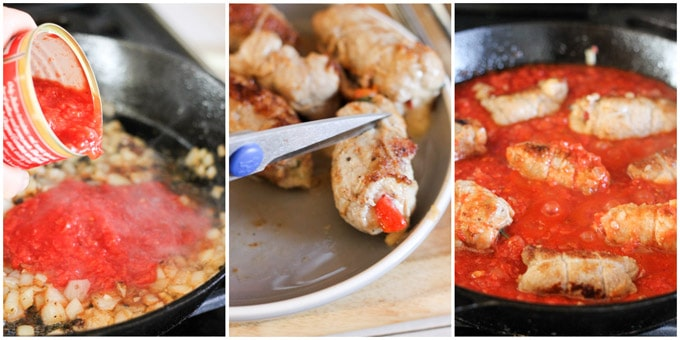 Steps to make stuffed veal rollaini in tomato sauce