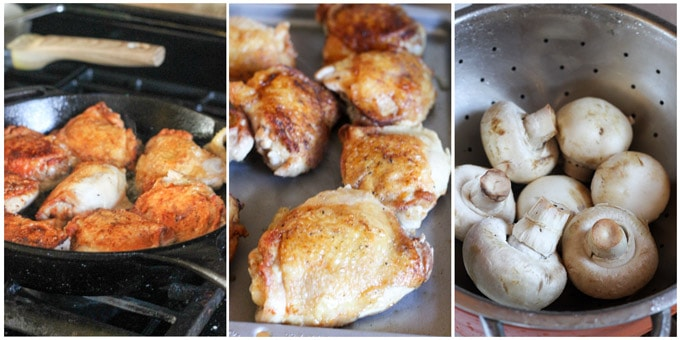 Process shots of making French hunters chicken