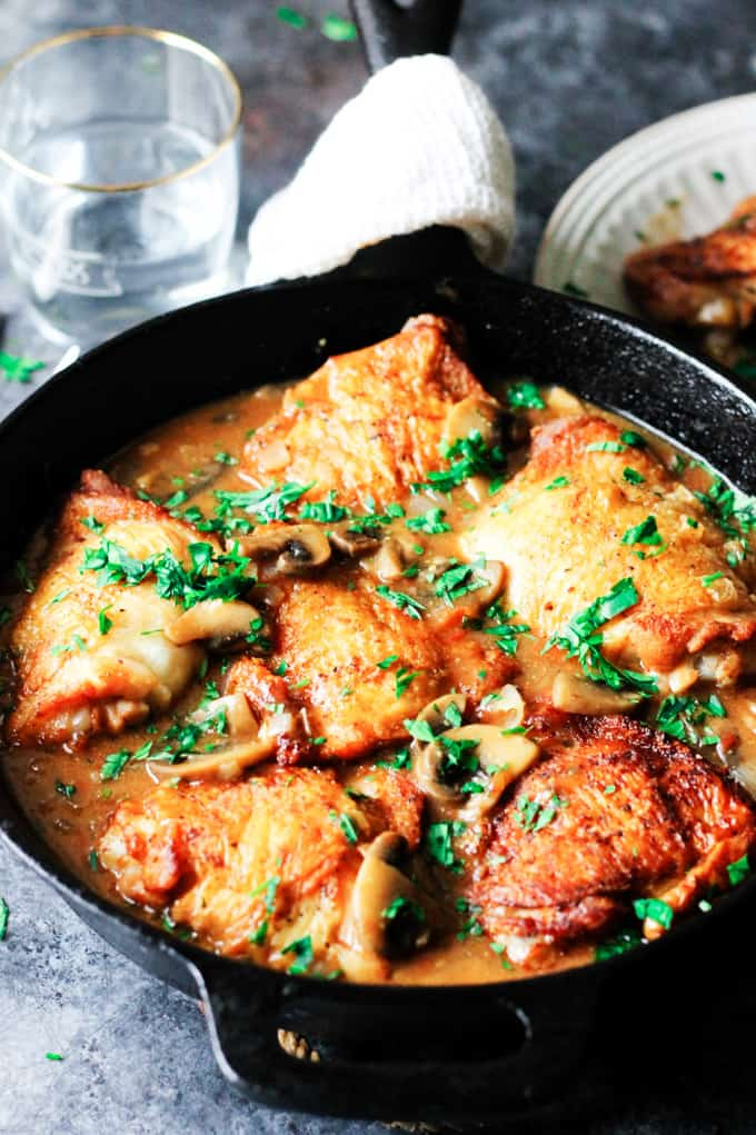 French Hungers Chicken in a cast iron skillet