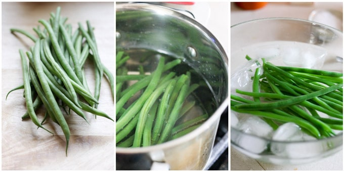 Process shots of making french salad with green beans