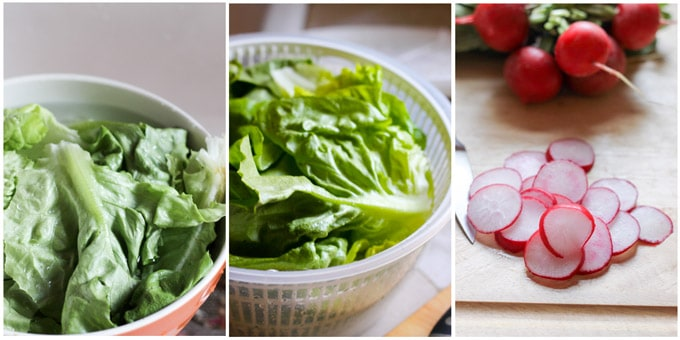 Process shots of preparing french salad