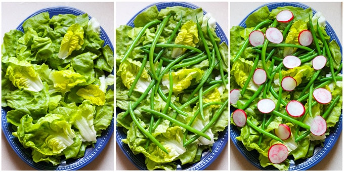 Process shots of assembling French salad
