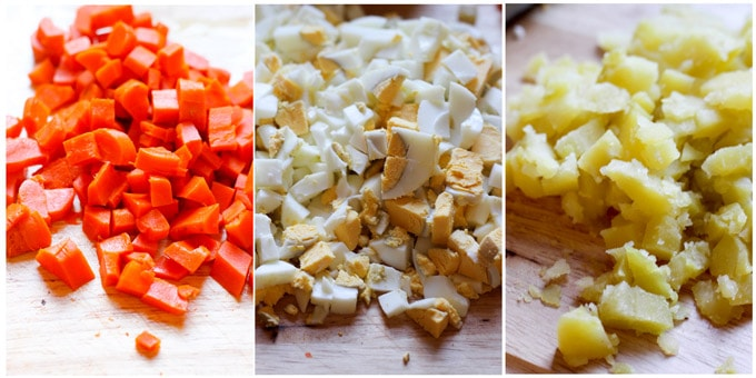 Process shots of making Russian Potato Salad