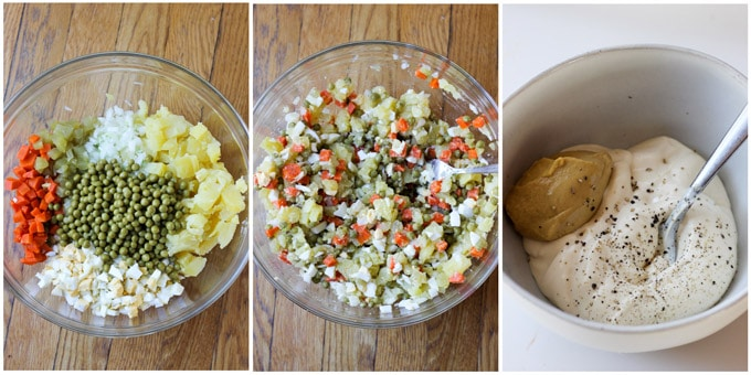 Process shots of Ensalada Rusa