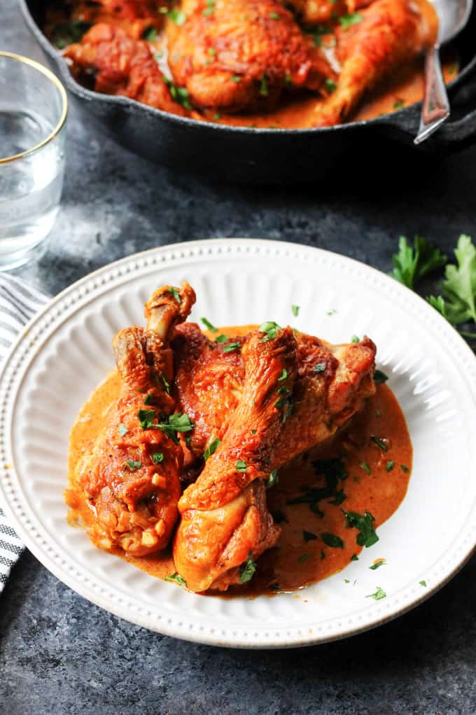 Hungarian Chicken Paprikash on a white plate