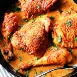 Chicken paprikash in a cast iron skillet with spoon