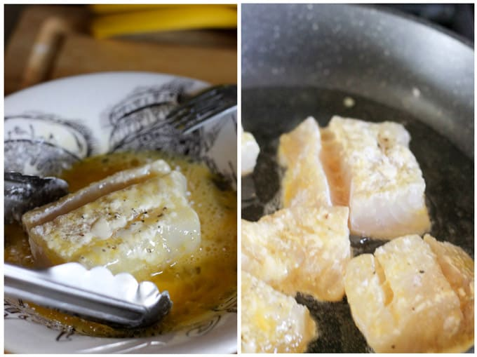 frying cod in a skillet proces shots