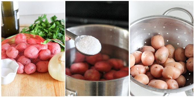 Process shots of making parsley potatoes