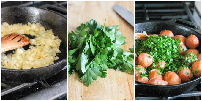 Parsley potatoes process shots