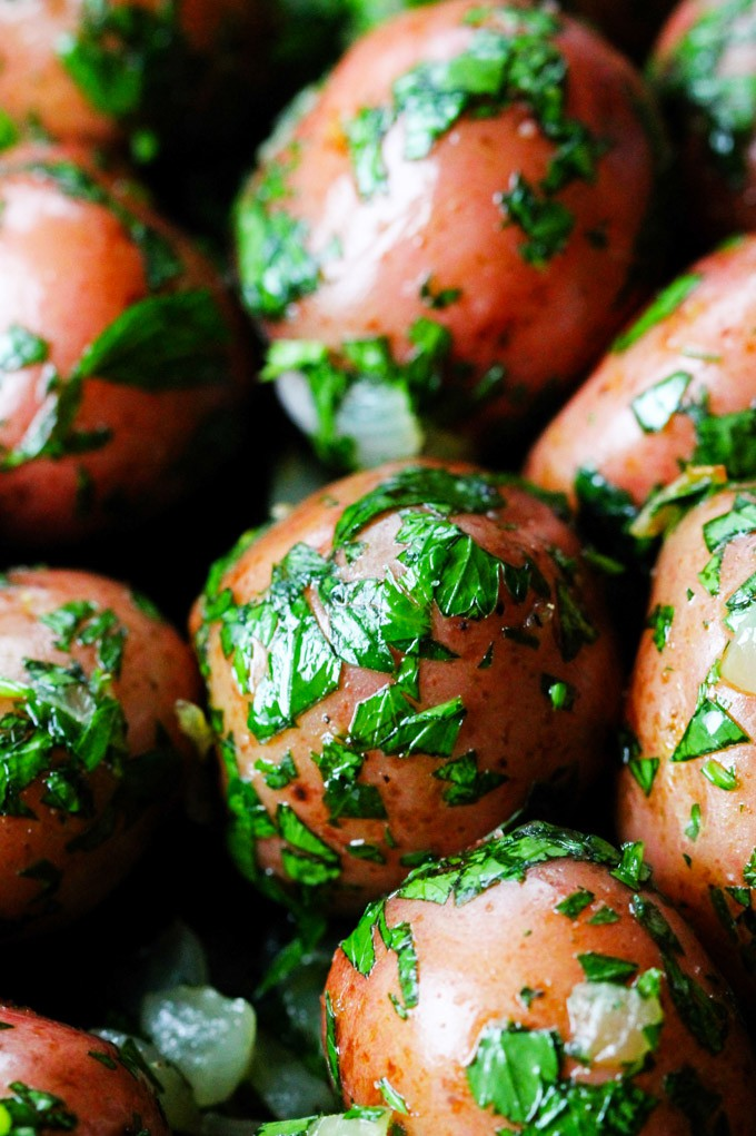 Close up shot of parsley potaotes
