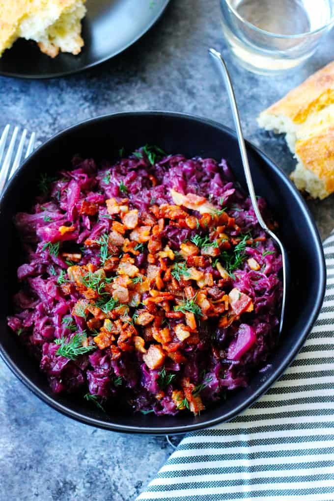 German Braised Red Cabbage in a bowl with spoon