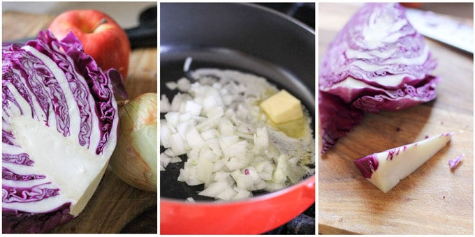Process shots of making Rotkohl