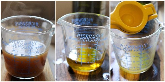 Process shots of making Greek Roasted Lemon Potatoes