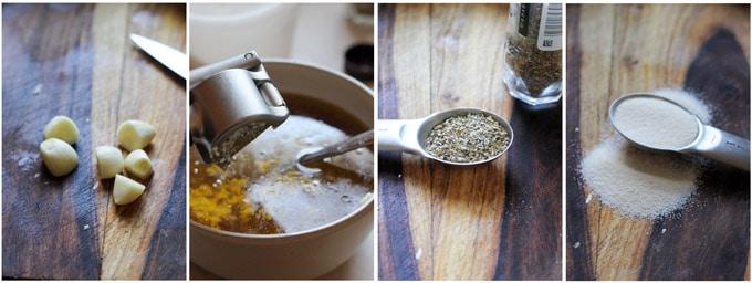 Process shots of making Greek roasted potatoes with lemon