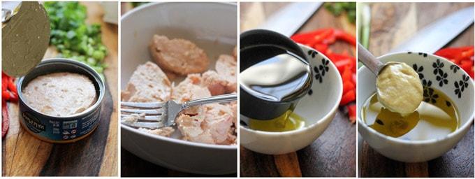 Process shots of preparing French Tuna sandwich