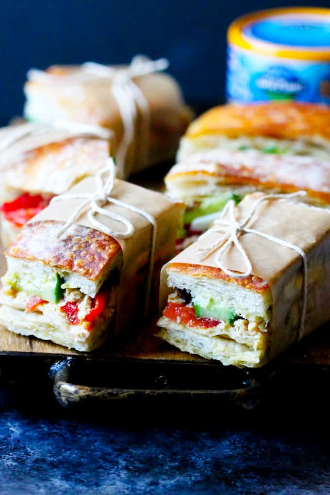 French Tuna Sandwiches on a serving board