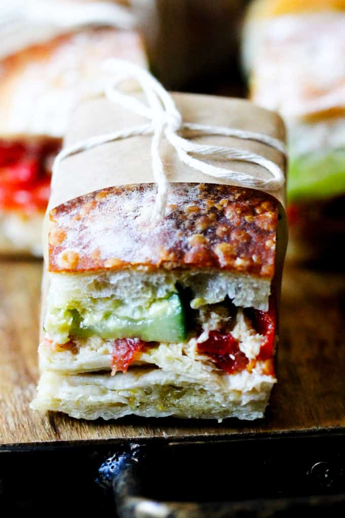 Close up shot of Pan Bagnat, French picnic sandwich