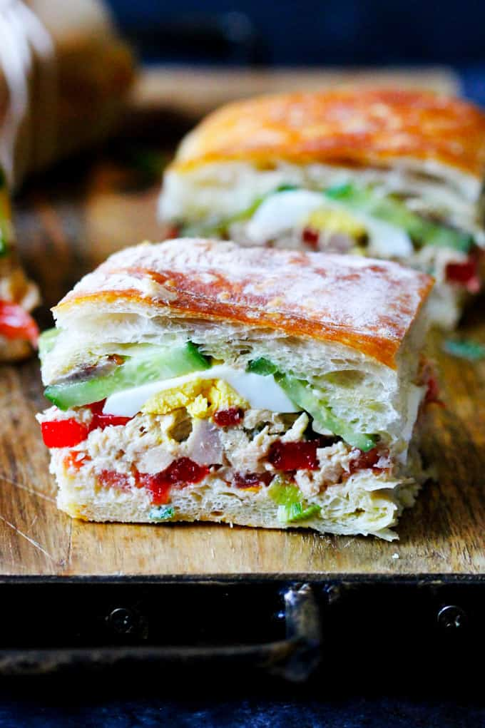 Cut up Pan Bagnat French Sandwich