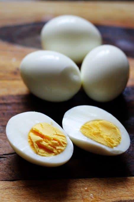 Peeled and cut up eggs for Eggs Mayonnaise
